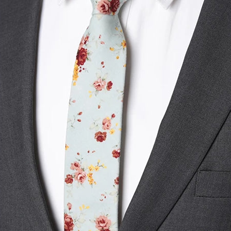Classy Men Mint Green Floral Skinny Cotton Tie