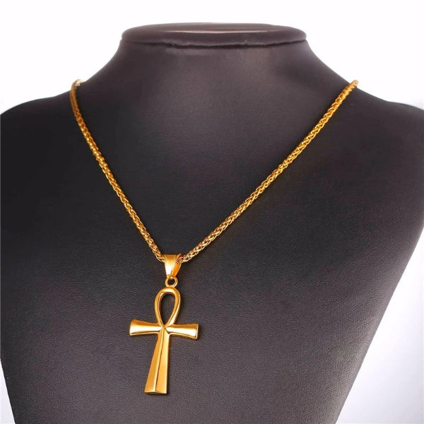 Classy Men Gold Ankh Cross Pendant Necklace