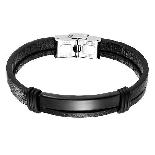 Classy Men Black Bar Leather Bracelet