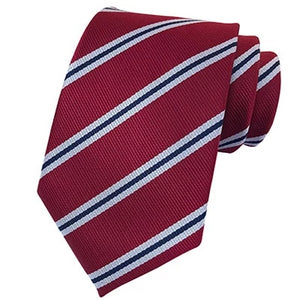Classy Men Classic Red Striped Silk Tie - Classy Men Collection