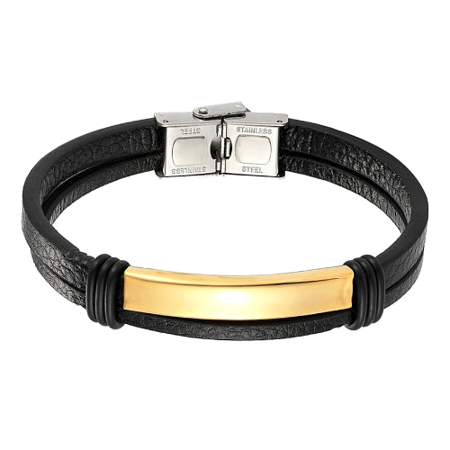 Classy Men Gold Bar Leather Bracelet