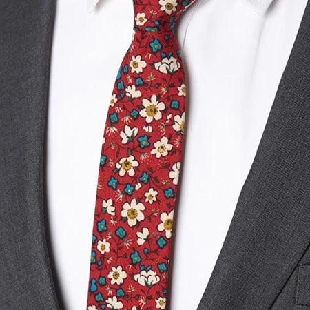 Classy Men Red White Blue Floral Skinny Cotton Tie