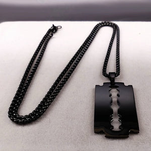 Mens Black Razor Blade Pendant Necklace