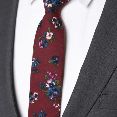 Classy Men Wine Red Floral Skinny Cotton Tie