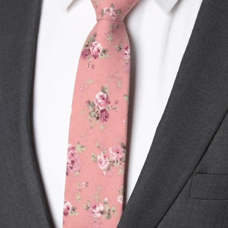Classy Men Pink Floral Skinny Cotton Tie