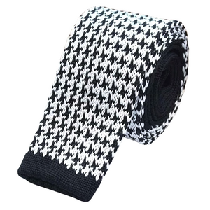 Classy Men Houndstooth Square Knit Tie