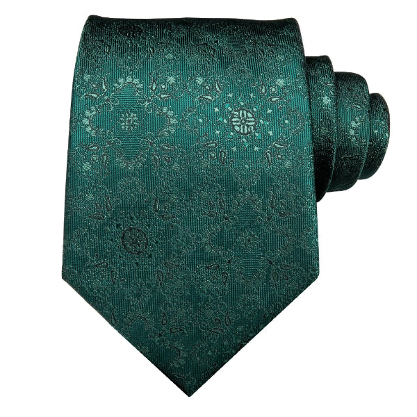 Jade green floral necktie made of silk