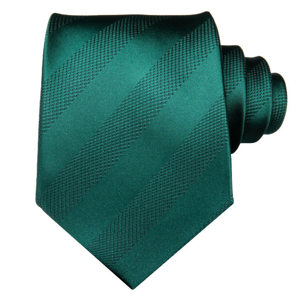 Jade green striped tie made of silk