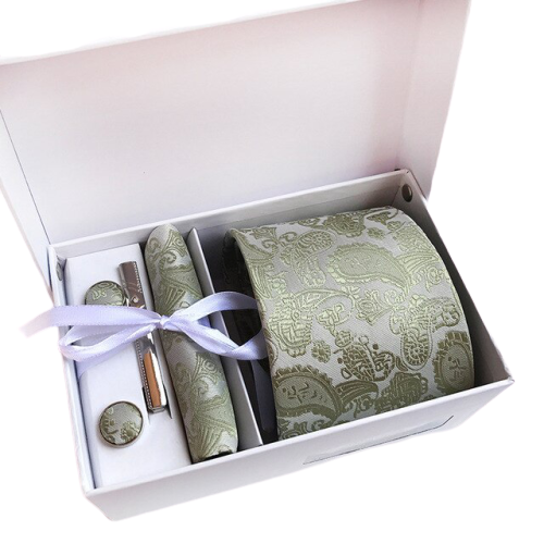 Khaki Paisley Suit Accessories Set With Necktie, Tie Clip, Cufflinks & Pocket Square