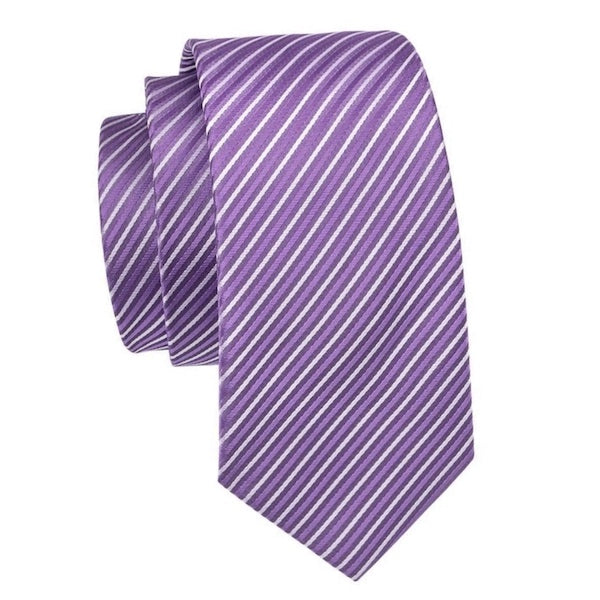 Lavender and white striped silk tie
