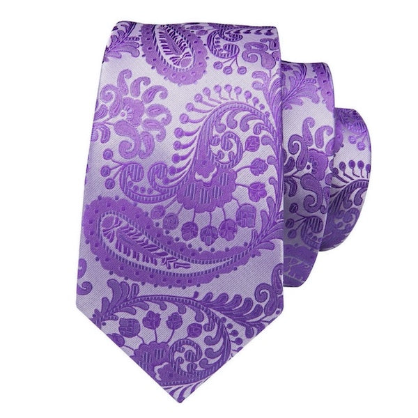 Lavender purple paisley flower silk tie