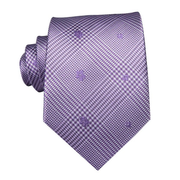 Lavender silk tie with tartan pattern