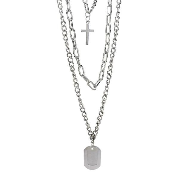 Layered necklace for men with three layers of chain and a cross and dog tag pendant