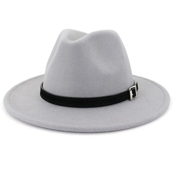 Classic light grey fedora hat for men
