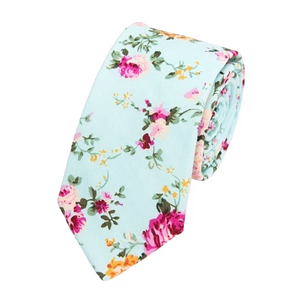 Classy Men Light Turquoise Floral Skinny Cotton Tie