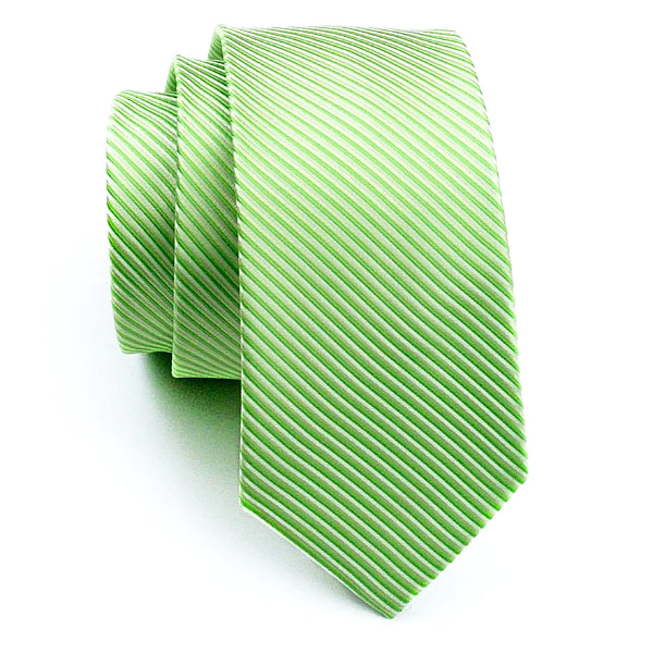 Light green striped tie made of silk