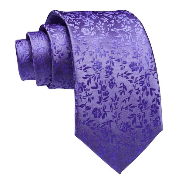 Lilac floral silk necktie for men