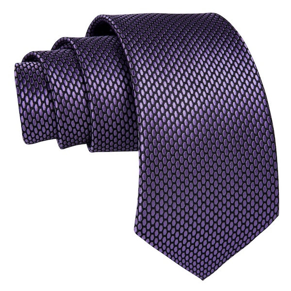 Lilac silk tie with honeycomb pattern