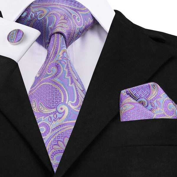 Alizeal Mens Novelty Paisley Tie and Pocket Square Sets Lilac