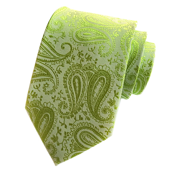 Classy Men Simple Lime Green Paisley Silk Tie