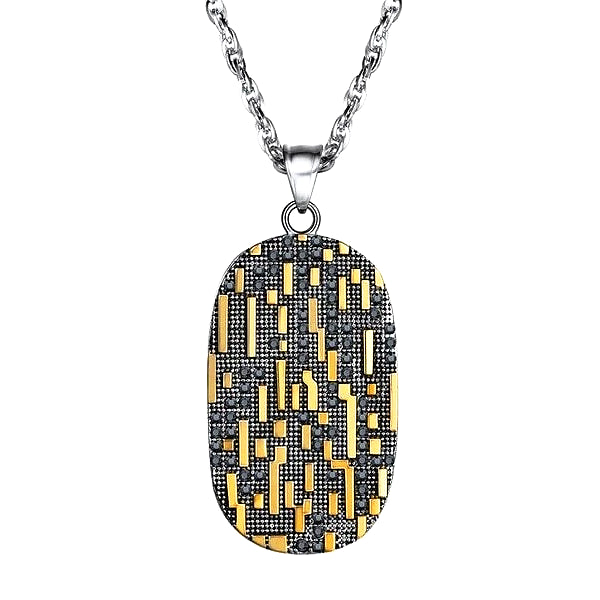 Dog tag necklace with gold and black matrix code pattern