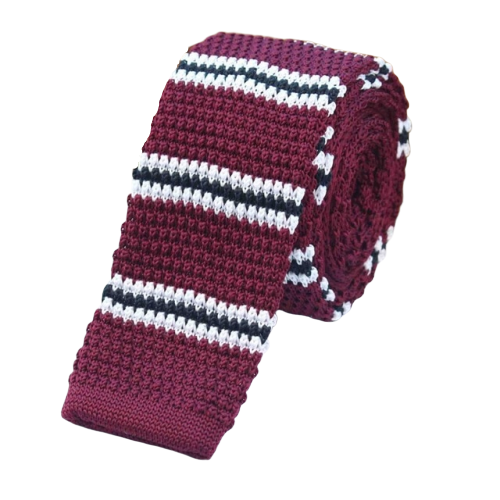 Classy Men Wine Red Striped Square Knit Tie
