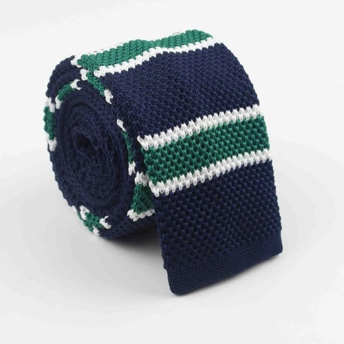 Classy Men Dark Blue Green Square Knit Tie