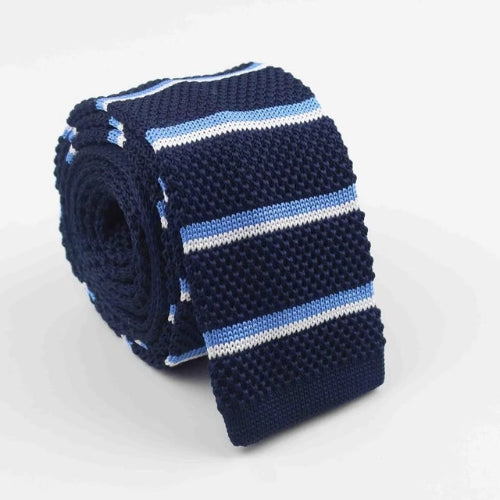 Classy Men Dark Blue Striped Square Knit Tie