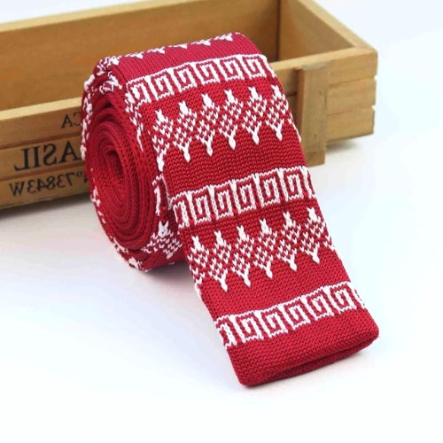 Classy Men Red Winter Square Knit Tie