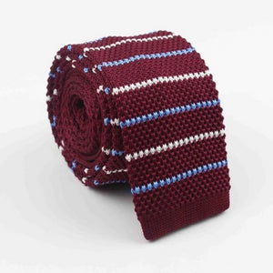 Classy Men Red Blue White Square Knit Tie