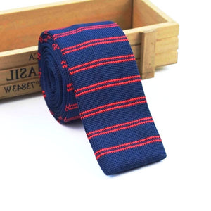 Classy Men Blue Red Striped Square Knit Tie
