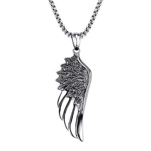 Men's Angel Wing Pendant Necklace On A White Background