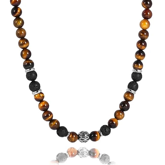 Mens beaded necklace made of tiger eye stone, lava stone, and 316L stainless steel