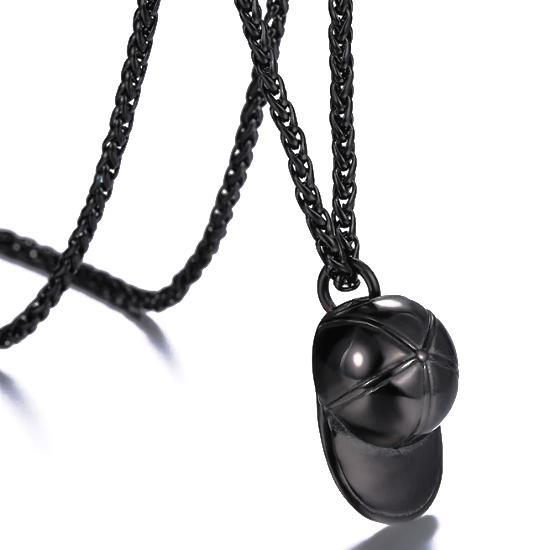 Black baseball cap pendant on a black wheat chain necklace