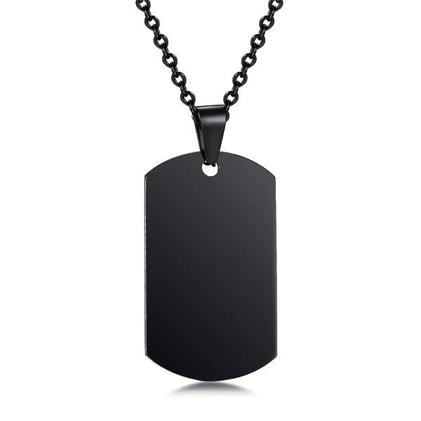 Mens black dog tag necklace chain