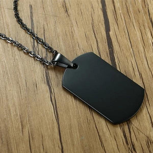 Black dog tag necklace with chain and pendant