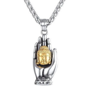 Mens Buddha pendant necklace with gold Buddha head held by a silver hand