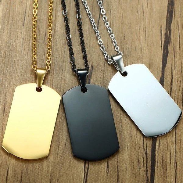 Dog tag necklaces in three colors