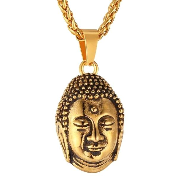 Mens gold Buddha pendant necklace