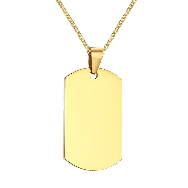 Mens gold dog tag necklace chain