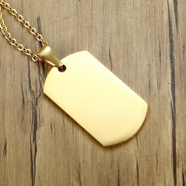Gold dog tag necklace with chain and pendant