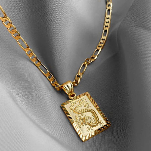 Mens gold dragon pendant necklace