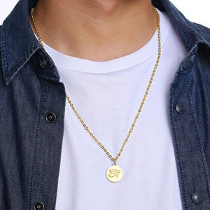 Mens gold Eye of Ra pendant necklace
