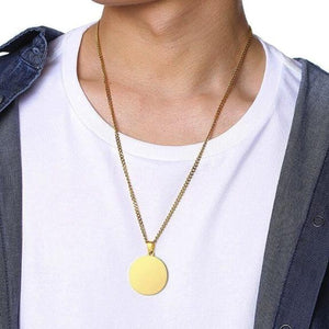 Mens round gold pendant necklace