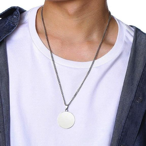Mens round silver pendant necklace