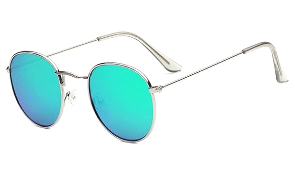 Classy Men Round Sunglasses Turquoise Silver