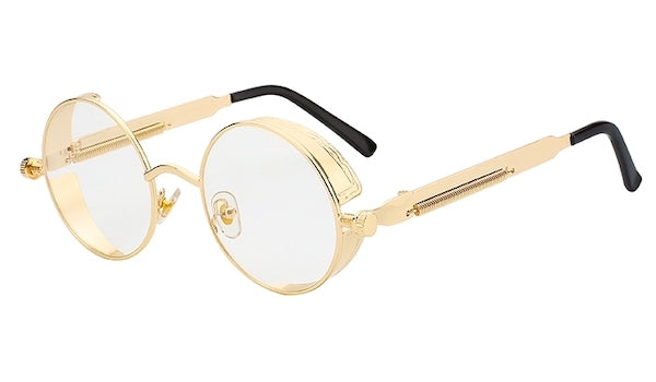 Round Vintage Non-Prescription Glasses With Clear Lenses & Gold Frames