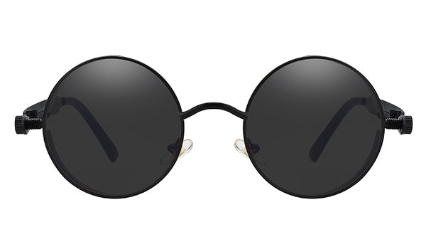 Classy Men All Black Round Vintage Sunglasses