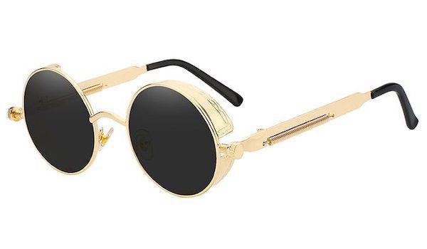Round Vintage Sunglasses With Black Lenses & Gold Frames