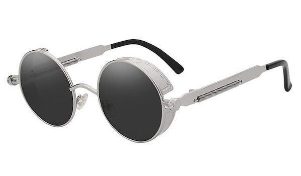 Round Vintage Sunglasses with Black Lenses and Silver Frames